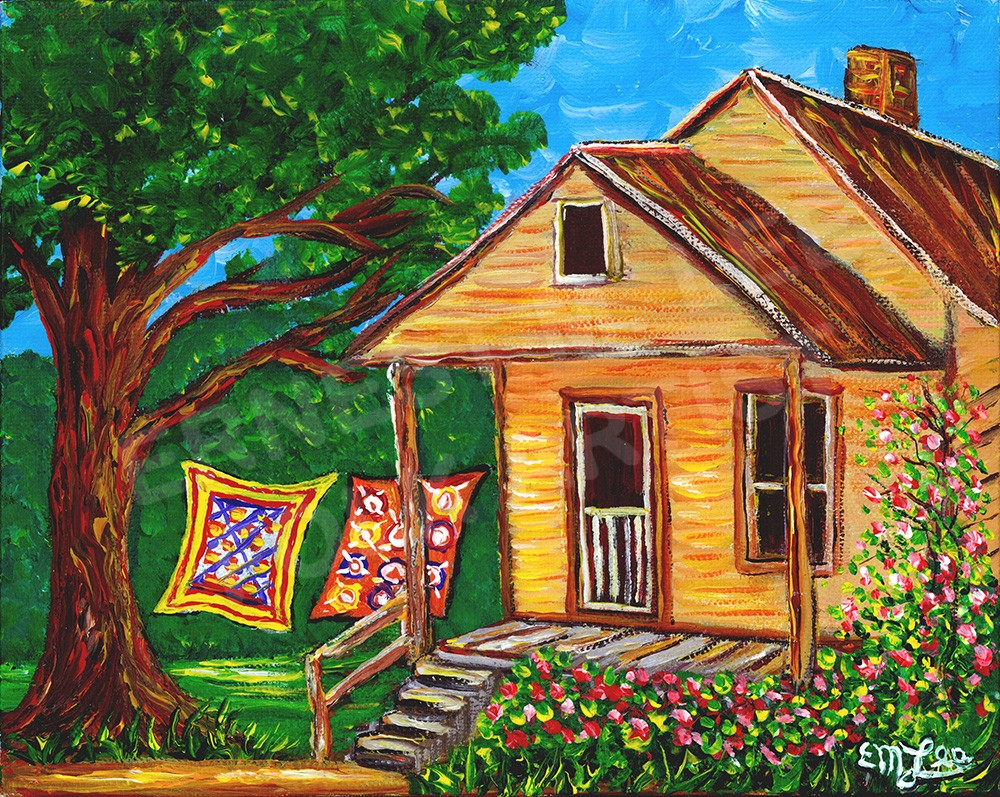 Apalachicola house with quilts